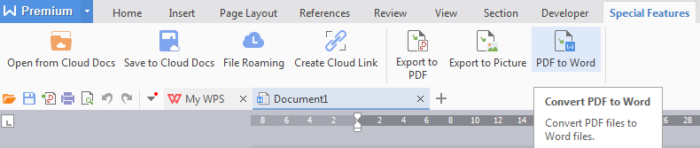 PDF to word menu