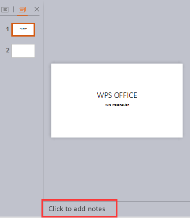 add speaker notes in wps presentation