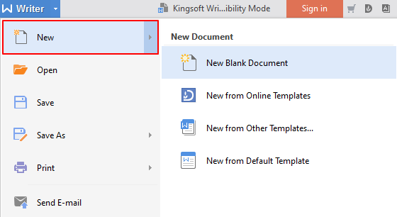 how to create a new document in wps writer 2016