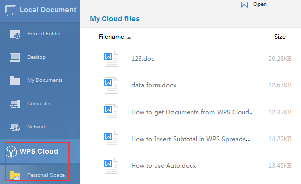 How to Get Documents from WPS Cloud