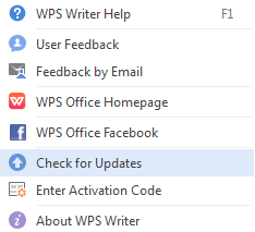 Check WPS Office version and update it